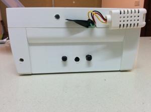 Micrófono y los controles de los altavoces. Switch, Salida Jack y Volumen
